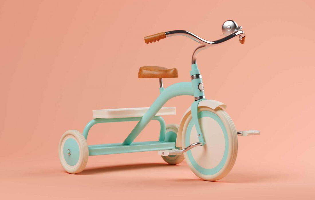 Blue bicycle on pink background 3 D illustration