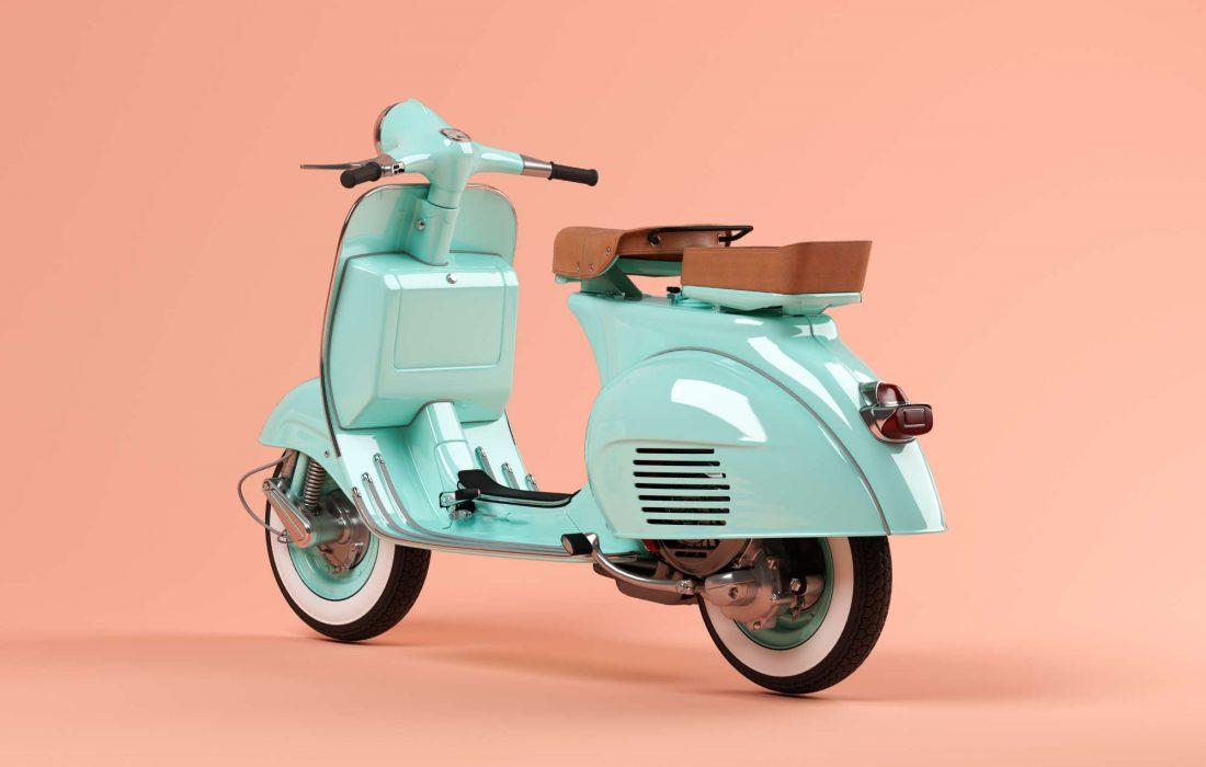 Blue scooter on pink background 3D illustration